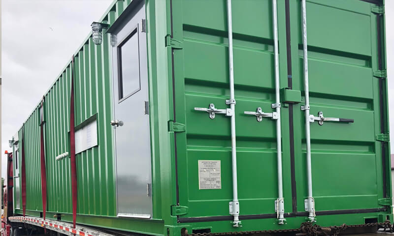 shipping container portable lube storage room