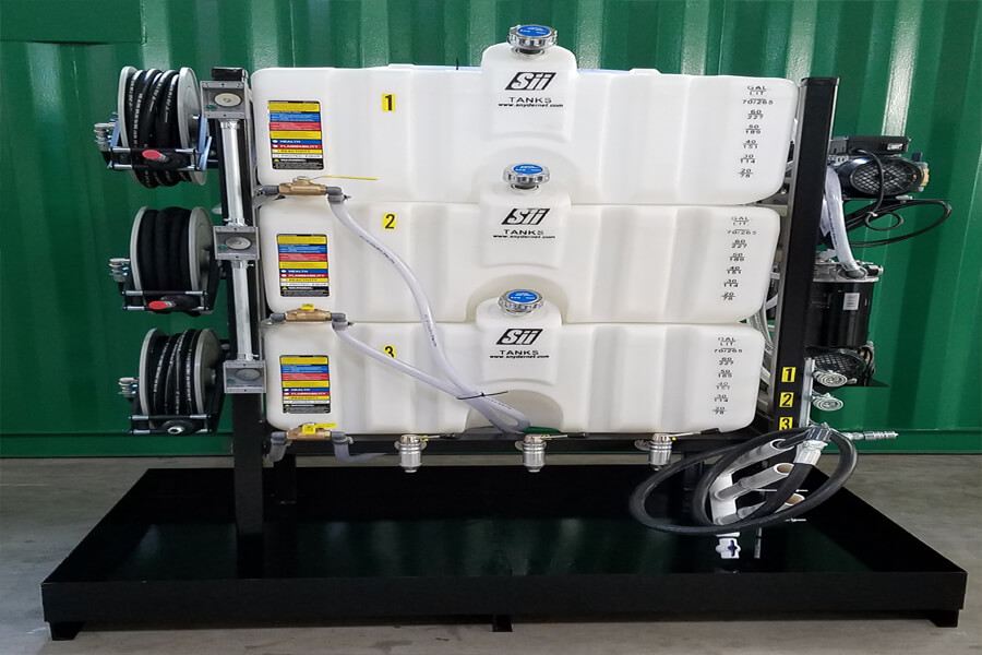 Plastic 3 Tank System with Hose Reels
